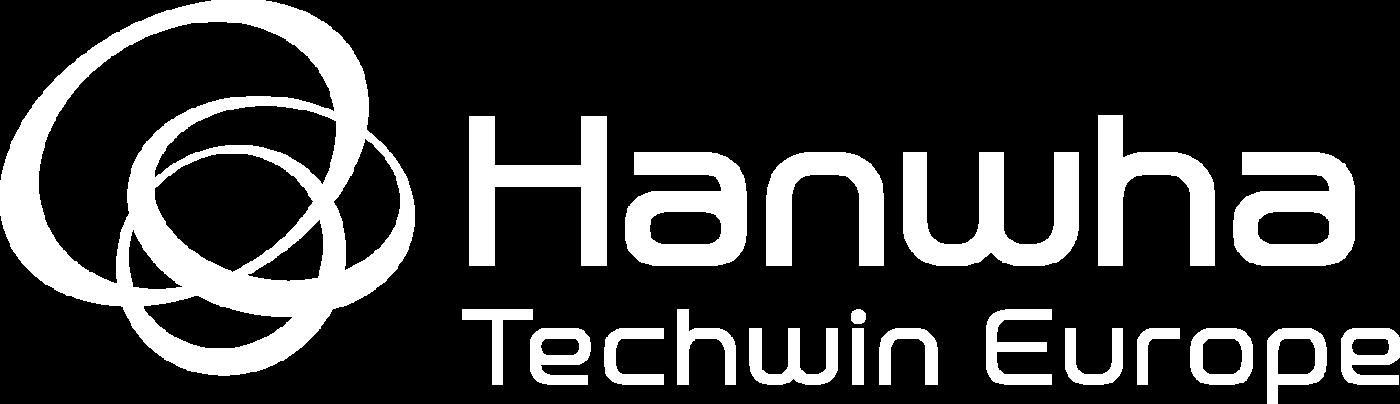 Logotype Hanwha Techwin Blanc, Hanwha Techwin est une marque distribuée par SIPPRO Solutions IP Protection, distributeur certifié Hanwha Techwin en France.