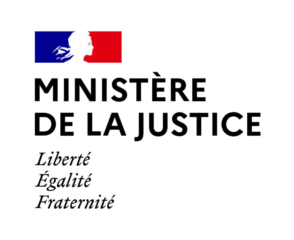 Logotype de du ministère français de la justice, qui est une référence professionnelle SIPPRO Solutions IP Protection, distributeurs de solutions de sûreté et de sécurité pour les professionnels.