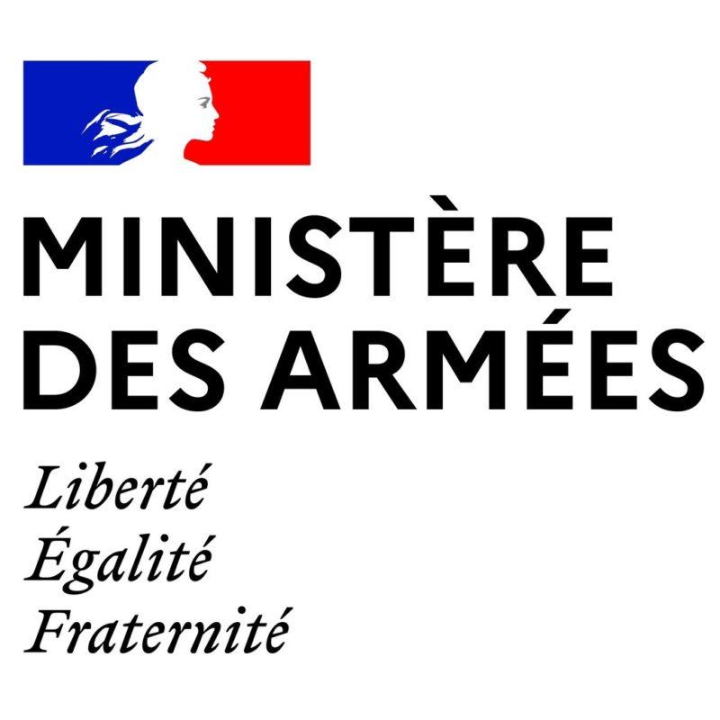 Logotype de du ministère français des armées, qui est une référence professionnelle SIPPRO Solutions IP Protection, distributeurs de solutions de sûreté et de sécurité pour les professionnels.