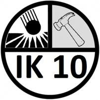 Pictogramme IK10 - Et un appareil affichant un indice IK10 résiste à des chocs de 20 J, soit l'équivalent d'une masse de 5 kg tombant d'une hauteur de 40 cm.