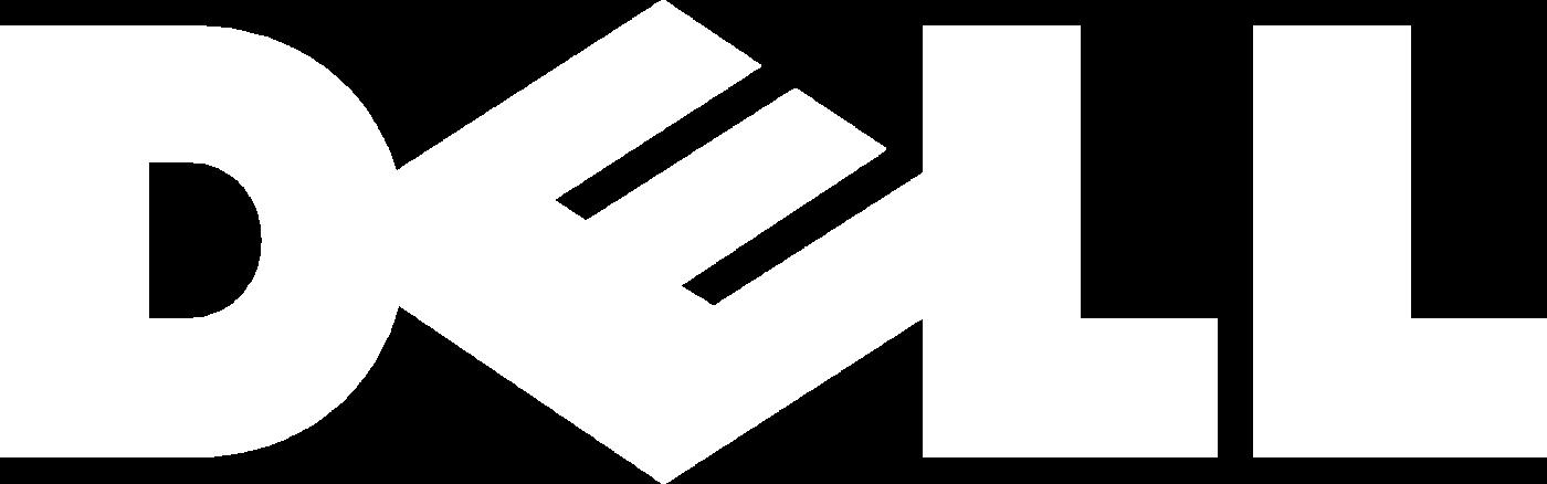 Logo de la société DELL en version blanche