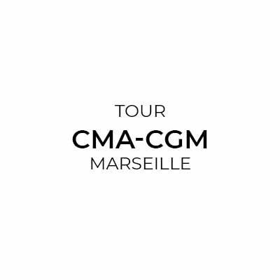 Logotype Tour CMA-CGM à Marseille, qui est une référence professionnelle SIPPRO Solutions IP Protection, distributeurs de solutions de sûreté et de sécurité pour les professionnels.