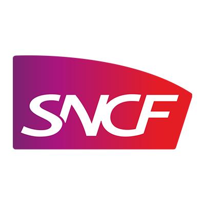 Logotype SNCF, qui est une référence professionnelle SIPPRO Solutions IP Protection, distributeurs de solutions de sûreté et de sécurité pour les professionnels.