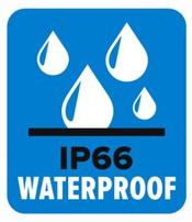Pictogramme IP66 - Il s'agit d'un indice d'étanchéité pour les caméras d'extérieur. Le premier chiffre indique la protection contre les solides, et le 2ème chiffre indique la protection contre l'intrusion d'eau.